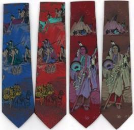 Krawatte mit Indianermotiv