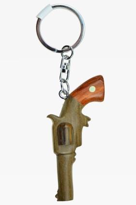 Schlüsselanhänger Westernpistole - Holz