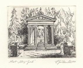 Radierung Grabmal Karl Mays